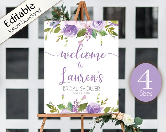 Welcome Sign Bridal Shower Template, Editable PDF, ANY EVENT, Bridal Baby Wedding Baptism Birthday Shower Sign, Lilac Purple Floral