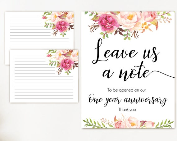 Leave a note wedding, Romantic Blooms Rose Floral, Printable leave a note for the bride and groom cards and sign, Wedding note card