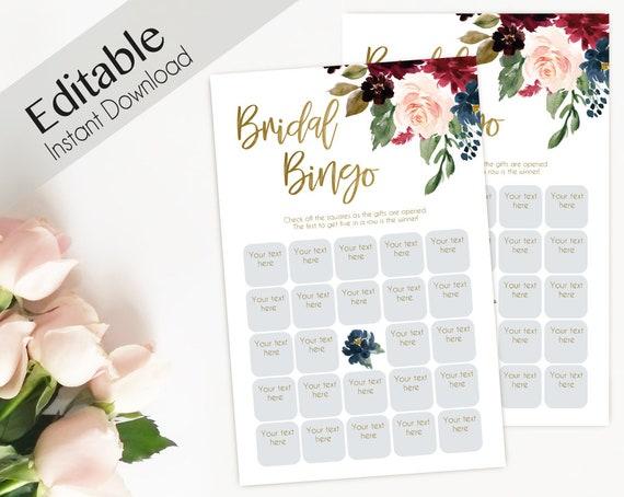 Bridal Bingo, Game Editable PDF Bridal Shower, Blue Navy Marsala Burgundy Blush Gold, Wedding shower game Bachelorette party, Editable bingo