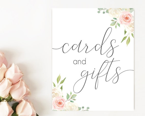 Cards and Gifts sign, Blush White Pink, Cards sign, gifts sign, Bridal Shower table sign, instant download, Wedding Gifts, Baby Shower sign