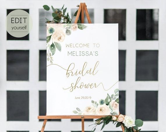 Welcome Sign Bridal Shower, Template Bridal Shower, Editable PDF, Welcome Bridal Shower, Greenery, White Blush Floral Gold, Editable Sign
