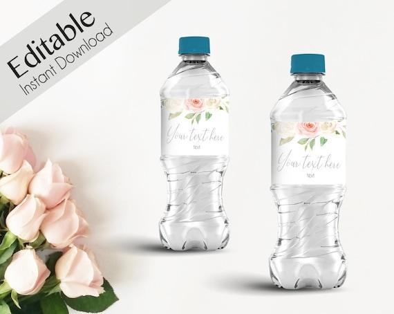 Water Bottle Wrapper Template Bridal Shower Baby Shower Editable Bottle Label Printable Instant Download, Romantic white Blush Pink Floral,