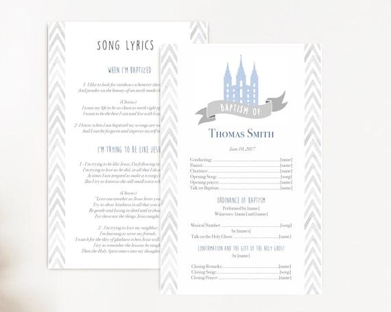 Baptism Program, Editable PDF, LDS Printable Digital Handout boy Baptism, blue, Grey, watercolor, Baptism Template