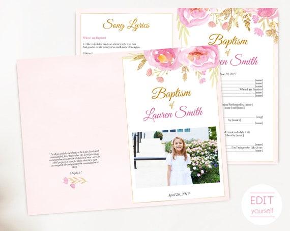 Baptism Program, Editable PDF,  Printable Digital Handout Girl Baptism, pink flowers, gold, watercolor, Girl Baptism, Program Template