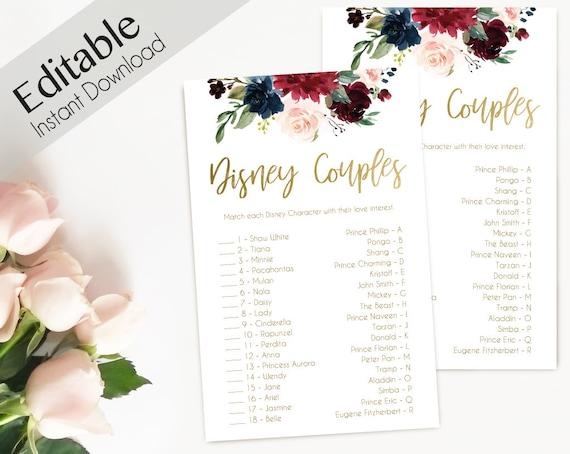 Disney Couples, Bridal Shower Game, Match the Disney Couples Game, Wedding Shower, Instant Download, Blue Navy Marsala Burgundy Blush Gold