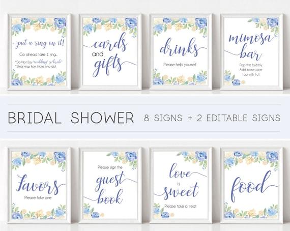Bridal Shower Sign Set, Bridal Shower Editable, Sign Package Set Bundle, Bridal Sign Printable, Editable Sign, Blue Flowers, Bridal blue