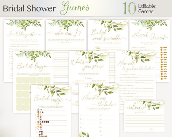 Bridal Shower Games Bundle, greenery gold, Editable Games Bridal shower, Set printable game bridal shower package, green floral green leaves