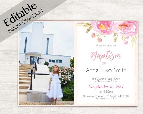 Baptism Invitation Girl, Editable PDF, Girl Invitation pink watercolor, Baptism Invite, Photo, Girl Baptism announcements, Baptism Template