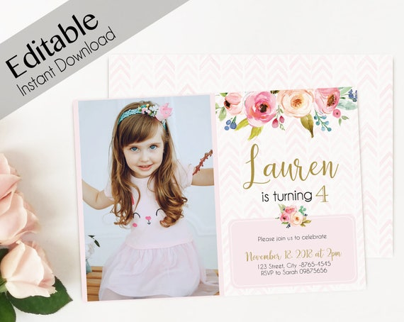 Birthday Invitation Girl, ANY AGE Editable Girl Invitation Pink Flowers watercolor, Birthday Invite, Photo, Girl Birthday, Instant Download
