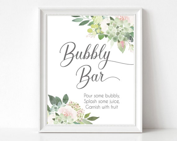 Bubbly Bar sign, Succulents Blush Flowers, Bubbly Bar Sign, Wedding Bar Sign, Printable Sign, Wedding Sign, Engagement Party Bubbly