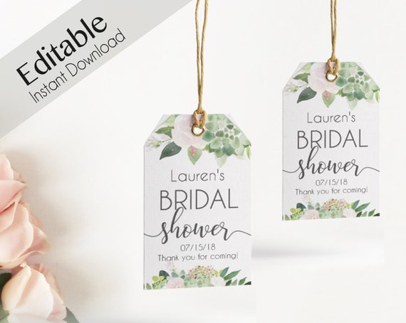 Favor Tag Bridal Shower Template Editable PDF Wedding shower tag Bridal Tea Tag, Instant Download, Succulent greenery Dusty Rose Floral