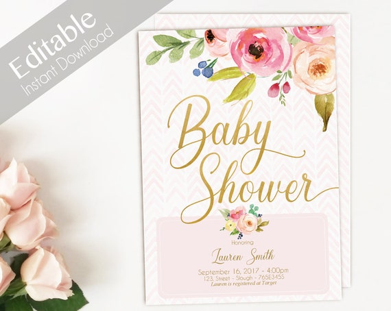 Baby Shower Invitation Pink Gold, Editable Baby Shower Invitation girl, flowers watercolor Invitation Baby Girl, baby shower template