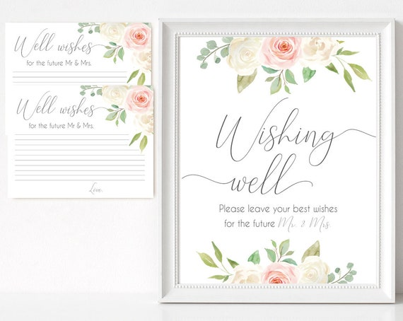 Wishing well sign, Blush White Pink, well wishes cards and sign, Bridal Shower Wishes for the future mr mrs card template, instant download