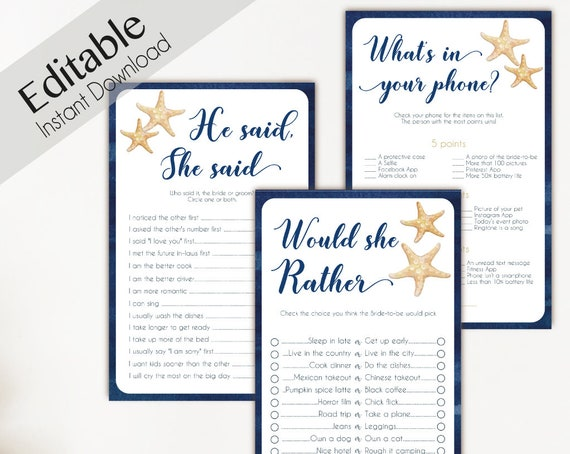 Bridal Shower Games Beach Navy Sea Starfish Editable Games Bridal Shower He Said She Said Would She Rather What's in your phone Nautical