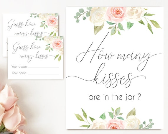 How many kisses are in the jar sign, Blush White Pink, How many kisses cards and sign, Bridal Shower How many kisses card, instant download