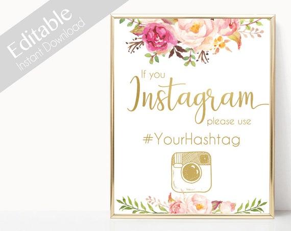 Instagram Bridal Sign, Instagram Wedding Sign, If You Instagram Sign, Instagram Sign Template, Editable Wedding Hashtag Sign, pink gold