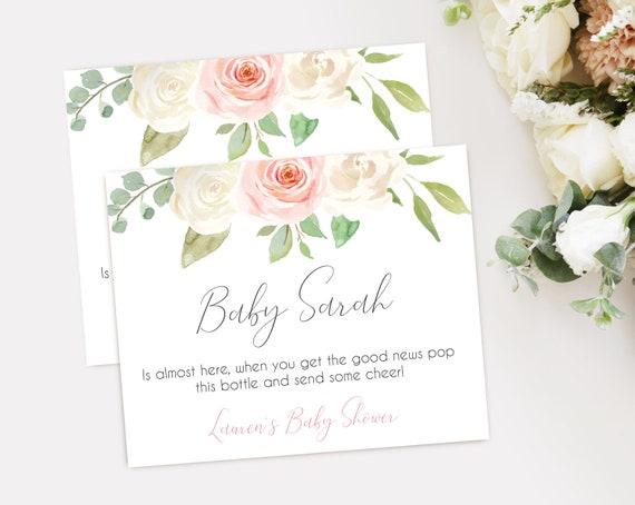 Baby Shower Mini Champagne Label, Shower Wine Label, Baby Shower Wine Label, Template Baby Shower, Editable PDF, White Blush Pink Floral