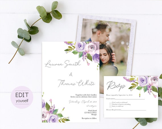 Editable Wedding Invite, Wedding Invitation Template Editable Lilac Purple Flowers Wedding, Wedding Invitation with picture photo, RSVP card