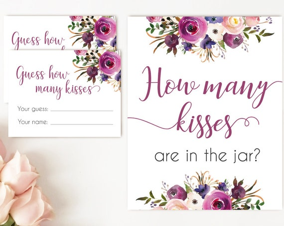 How many kisses are in the jar, Purple Lavender How many kisses cards and sign Bridal Shower How many kisses card, instant download