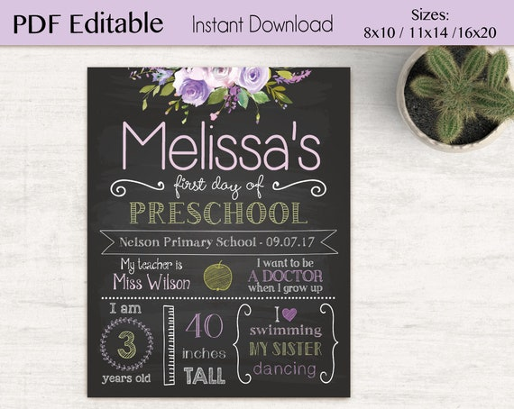 First/Last Day of School Sign Editable, Editable Back of school chalkboard, DIY, Chalkboard Sign, Purple Lilac Flower sign, INSTANT DOWNLOAD