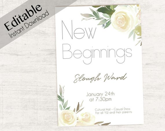 Editable New Beginnings Invitation, Young Women LDS Invitation, Instant Download, Young Women Invitation, YW printable, white flowers