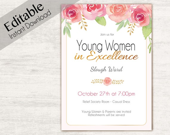 YW in Excellence Invitation Editable PDF Young Women lds Invitation, Instant Download, Young Women Invitation, YW in Excellence printable
