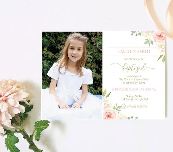 Baptism Invitation Girl, Editable PDF, Girl Invitation, Baptism Invite, Invitation Template, White flowers Blush Pink Watercolor Floral Gold