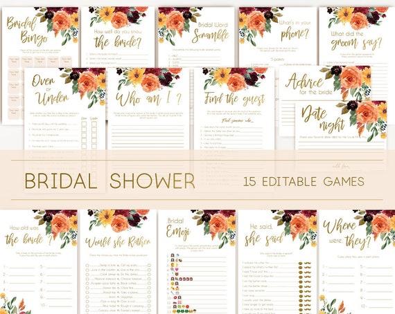 Bridal Shower Games, Bridal Shower Games Printable, Bridal Shower Games Bundle, Autumn fall flowers, wedding shower games, editable games