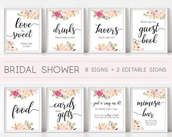Bridal Shower Sign Set, Bridal Shower Sign Package Bundle, Printable Bridal Tea Sign, Romantic Blooms Rose Floral Editable Sign 5x7 8x10