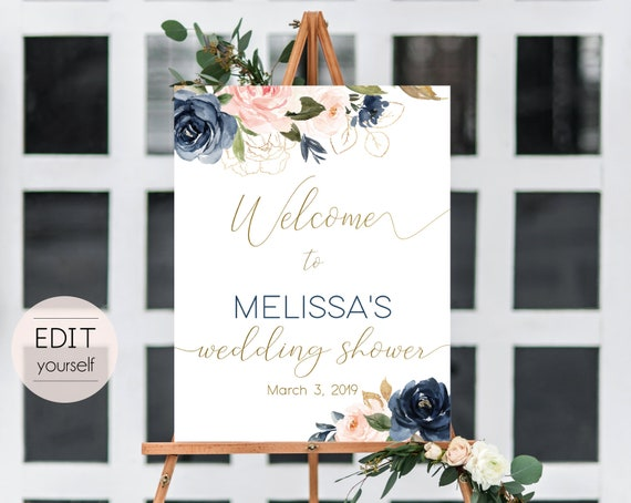 Welcome Sign Wedding Shower Template, Editable PDF, Editable Navy Gold Dusty Rose Floral Wedding Shower Welcome Sign Printable Bridal Shower