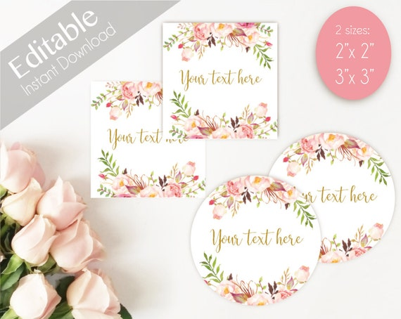 EDITABLE Label / Tag, Mimosa Bar Juice Tags, Bar Drink Tags, Editable Labels Bridal Shower Decoration, Romantic Bloom Blush Pink Flower Gold