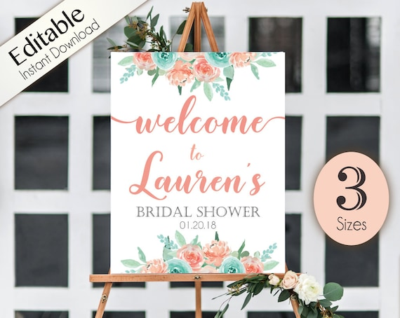 Welcome Sign Bridal Shower Template, Editable PDF, ANY EVENT, Bridal Baby Wedding Baptism Birthday Shower Sign, Coral and Turquoise flowers