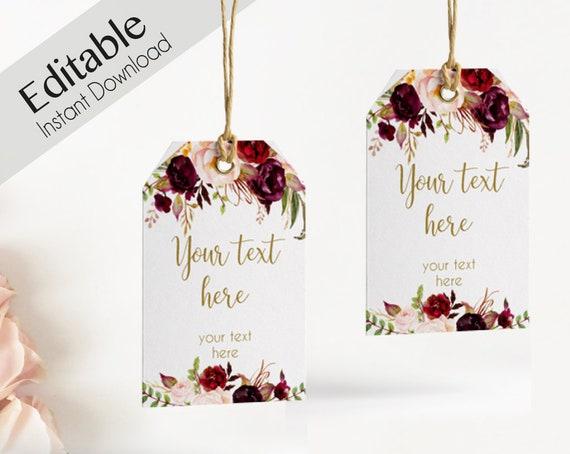 Favor Tag Bridal Shower Template, Editable PDF Wedding tag Bridal Tea Tag Printable, Instant Download, Marsala Burgundy Peonies Floral Gold