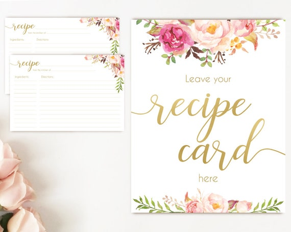 Recipe Cards Bridal Shower, Recipe Sign, Recipe Card Printable Romantic Blooms Rose Floral Gold Sign, Recipe Card Floral INSTANT DOWNLOAD