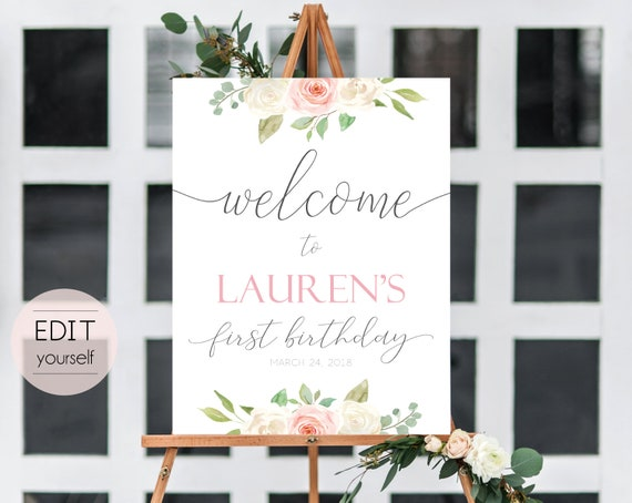 Welcome Sign Birthday Party, Template 1st birthday, Editable Sign, Welcome Party Birthday, Sign Romantic White Blush Pink Floral, Corjl