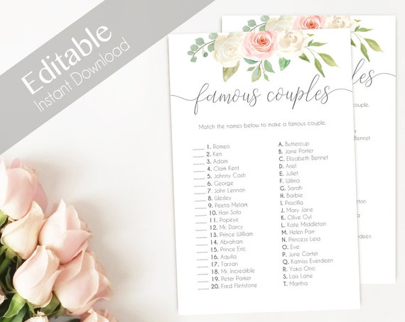 Bridal Shower Game, Match the FAMOUS COUPLES, Editable PDF, Instant Download, Bridal Shower Blush Pink White, Editable Wedding Shower Game