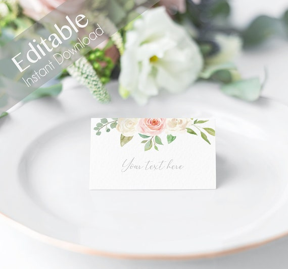 EDITABLE Place Cards, Printable Romantic Pink White Tent Card, Pink White Flower, Editable Place Card Bridal Shower, Folded Card