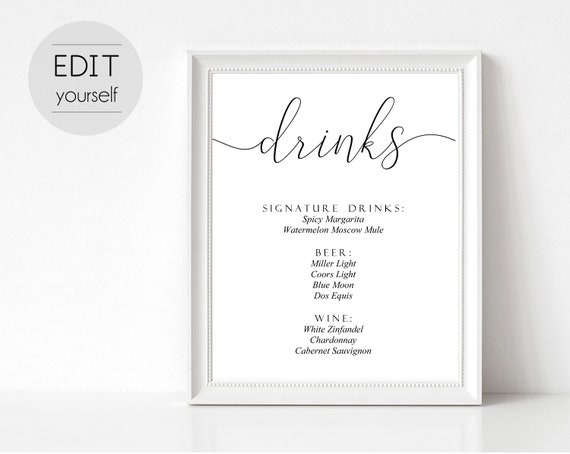 Editable Drinks Sign, Editable Sign, Wedding Sign Template, Wedding Drinks Sign, Calligraphy Drinks Sign, Wedding Drinks Menu, Editable PDF