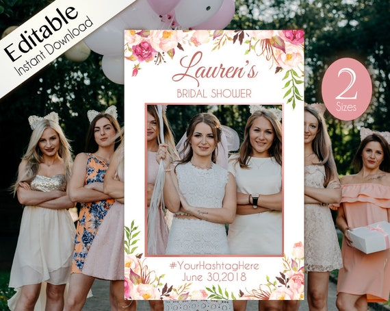 Bridal Shower Photo Booth Frame, Photo Prop Frame, Birthday Photo Booth Prop,  Editable PDF, Romantic Blooms Rose Floral Rose Gold