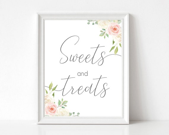 Sweet and Treats Sign, Dessert Table Sign, Wedding Sign, Candy Bar Sign, Sweet Treats, Take a Treat Sign, Wedding Signs, Blush White Pink