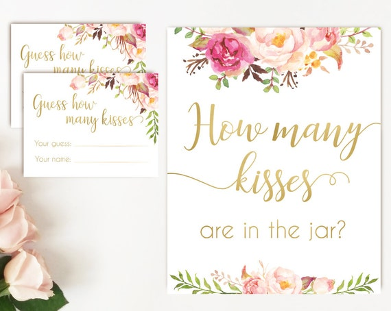 How many kisses are in the jar sign, Blush Bloom Pink Gold, How many kisses cards and sign, Bridal Shower How many kisses instant download