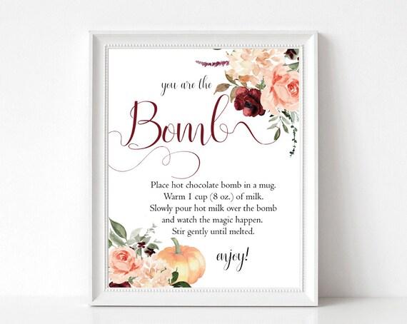 Editable Fall Hot Chocolate Bomb Sign, Bomb Instructions Thanksgiving, Editable Bomb Sign, Printable Hot Cocoa Bomb Sign, Corjl, HC33