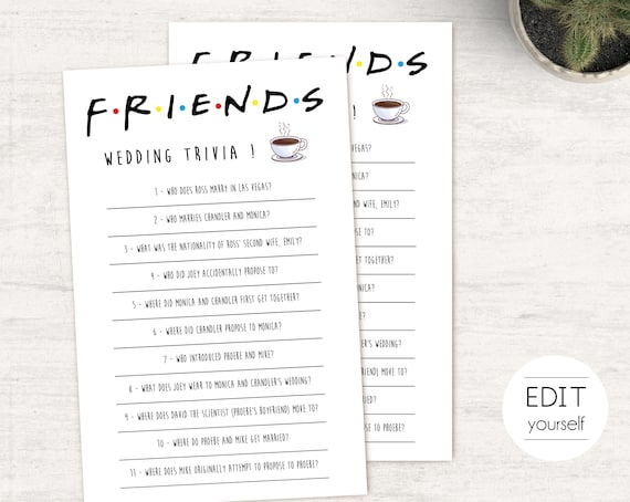 Friends Tv Show Bridal Shower Game, Editable Friends Wedding Trivia, Bachelorette game, Friends Theme, Friends Wedding Trivia