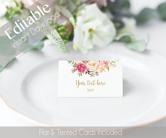EDITABLE Tent Cards, double side, Tent Flat Cards, Printable Romantic Bloom Blush Pink Flower Gold, Editable Place Card Bridal Shower