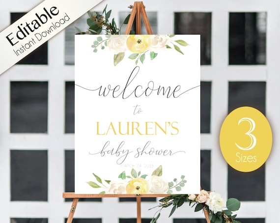 Welcome Sign Baby Shower, Template Baby Shower, Editable PDF, Welcome Baby Shower Sign Romantic WhiteYellow Floral, Editable Sign, unisex