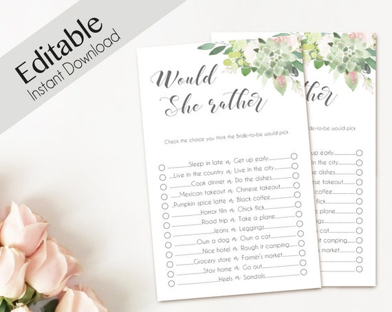 Bridal Shower Game, Would she rather, Editable PDF Bridal Shower Succulent Blush Pink Greenery Floral Watercolor Flowers, Editable Game