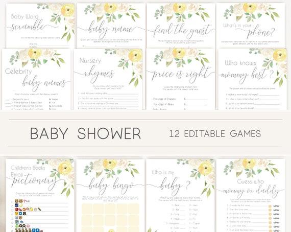 Baby Shower Games, White pink baby shower, Baby Shower Games Bundle, Editable games, Baby Shower white yellow, Baby shower yellow