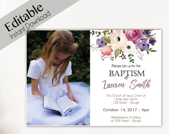 Baptism Invitation Girl, Editable PDF, Girl Invitation lavender purple flowers, Baptism Invite, Flower watercolor Baptism, Baptism Template