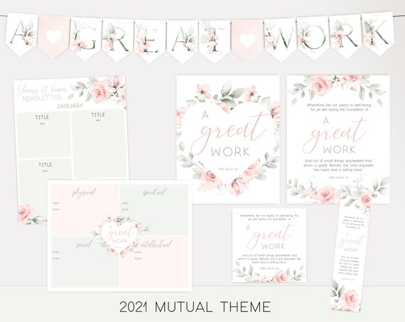 2021 LDS Young Women Theme 2021, Mutual Theme, A Great Work, Bulletin Board Set Young Women, Instant Download, Young Women Printable