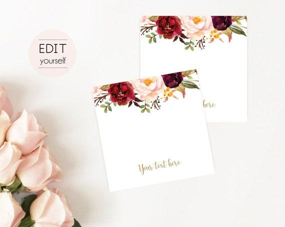 Editable Hair Tie Cards, Favor Tag Bridal Shower Template, Editable PDF Printable, Instant Download, Marsala Burgundy Peonies Floral Gold